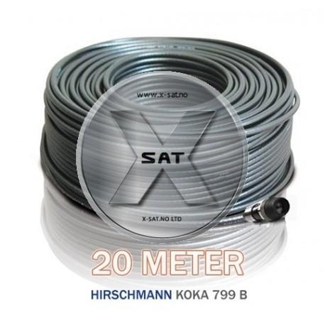 20m Koaksial kabel med 1 stk f-kontakt